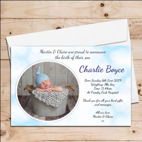 10 Personalised Baby Boy Birth Announcement Thank You Photo Cards N22